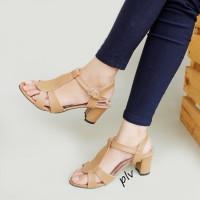 Fashion Wanita Strappy Block Heels KN03 Moka