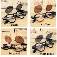 A28 Flip-up round black boboho vintage sunglasses kacamata import