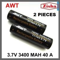 Jual [BUY 1 GET 1] Baterai Rokok Elektrik 18650 AWT 3400 Mah Hitam Murah
