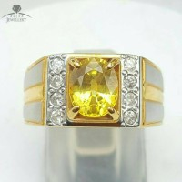 Cincin Emas Kuning Full Berlian Eropa Kombinasi Batu Yellow Saphire