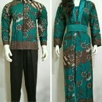 baju couple batik gamis terbaru DY02 tosca lengan panjang