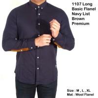 Jual 1107 long basic flanel list brown premium / Kemeja Jh pria