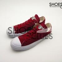 Sepatu Converse All Star Low Maroon White cowok/cewek warna merah