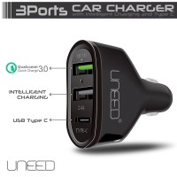 Jual UNEED Qualcomm Quick Charge 3.0 Car Charger Dual USB Port &Type C Port Murah