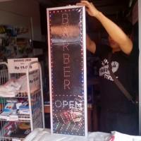 Tulisan Lampu Led Sign BARBER OPEN PANAH WATER PROOF - NO RUNNING TEXT