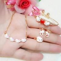 Set Anak Gold Perhiasan Xuping Gelang Kalung Anting Cincin Hello Kitty