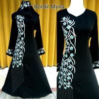 abaya arab gamis jubah busana muslim wanita plus pasmina bordir myna