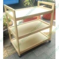 Meja rak dorong tv dispenser 3 susun tahap roda kayu ramin kuning