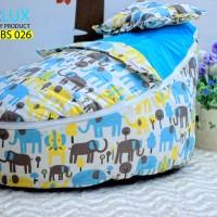 Tempat Tidur Baby Bouncer Beanbag Blue Elephant 77x53x40 cm Premium