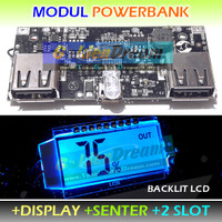 With LCD Display - 2 Slot Powerbank Modul USB Charger 5v 2A 2.1A Cas