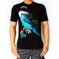 Bawara Kaos Burung KIcau Lovebird Dakocan Blue Premium Hitam Size L, M