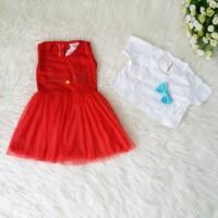 Dress Hello Kitty Anak Newborn Baju Pesta Bayi Perempuan Merah Bolero