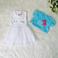 Dress Hello Kitty Anak Newborn Baju Pesta Bayi Perempuan Putih Bolero