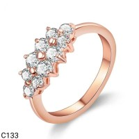 Jual Cincin Hypoallergenic Lapis Emas Rose Gold CZ Clear Simple C133 Murah