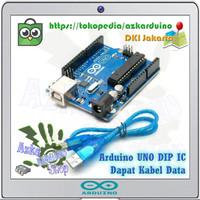 Arduino Uno R3 ATmega328P DIP IC Pakai Socket + Kabel Data
