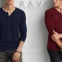 Jual Baju Kaos Pria Henley Lengan Panjang By Rava Premium Original (Best Murah