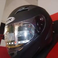 Helm INK Duke Black Solid Fullface Full Visor Hitam Dopp