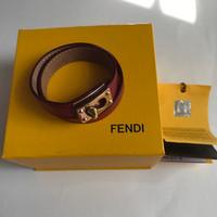 Gelang Fendi Leather Wrap Around Red Bracelet