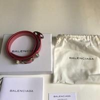 Gelang Balenciaga Arena Double Wrap Rose Bonbon