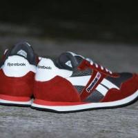 Sepatu Sport Reebok Classic Grade Ori / Merah Abu / kets casual pria