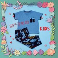 baju tidur anak/piyama kids/kaos lgn pdk/cln pjg batik grey