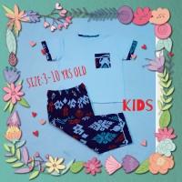 baju tidur anak/piyama kids/kaos lgn pdk/cln pjg batik white