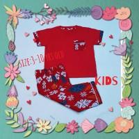 baju tidur anak/piyama kids/kaos lgn pdk/cln pjg batik merah