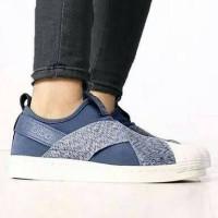 Adidas Superstar Slip On Blue Jeans Sneakers Wanita Sepatu Jalan