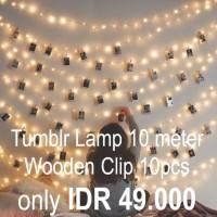 Tumblr Lamp / Lampu Tidur / Lampu Kamar / Lampu Ruang / Wooden Clip