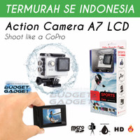 Action Camera A7 30M Waterproof 720P + LCD Screen + Aksesoris