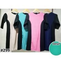 Jual DRESS 299 | Dress Bodycon Kombinasi Warna Bahan Tango Ukuran Jumbo Murah