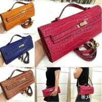 Hermes Kelly clutch with long strap#$