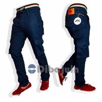TERLARIS Celana pria panjang Cargo cino biru navy bahan twill