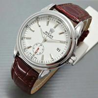[Diskon] Rolex Automatic RXA01 Jam Tangan Pria Kulit Coklat Dial Putih