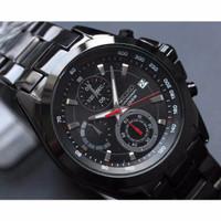[Murah] Seiko Chronograph, Full Black Jam Tangan Pria Rantai