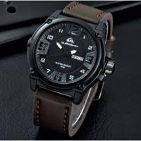 [Baru] Jam Tangan Pria Murah Quiksilver QS03 Leather / Kulit Dark Brow