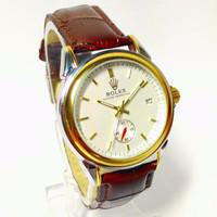 [Original] Rolex Automatic RXA01 Jam Tangan Pria Kulit Coklat Dial Put