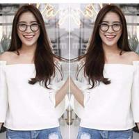 Jual SPECIAL SALE [Blouse Berline BW SW] blouse wanita wolly crepe putih Murah