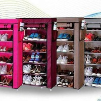 Rak Sepatu Susun Rak Sendal 7 Tingkat Rangka Besi Shoe Rack Dust Cover