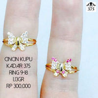 cincin kupu kecil putih/pink perhiasan emas asli wanita kadar 375