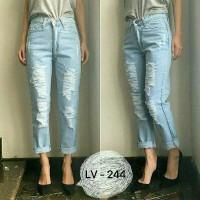ripped puring Boyfriend jeans biru muda | Boyfriend jeans light blue