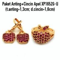 Jual Perhiasan Imitasi Murah Paket Anting + Cincin Apel Lapis Emas XP1652G Murah