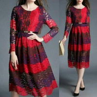 Midi Party Dress Baju Gaun Pesta Malam Lengan Panjang ZO16112918-86