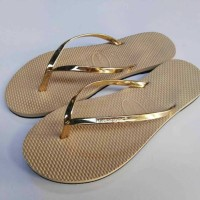 Sandal Jepit Havaianas Leather For woman Gold