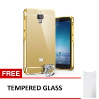 Case For xiaomi Mi4i/Mi4c Bumper Chrome With Mirror - Gold + Tempered