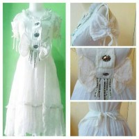 Jual dress putih sabrina pita besar IMPORT Murah