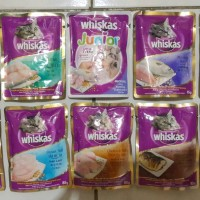 Whiskas pouch / sachet 85gr wetfood tuna , salmon , junior