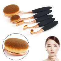 Jual KUAS MAKEUP UP OVAL BRUSH ROSE GOLD SET 5 PCS FOUNDATION POWDER SOFT Murah