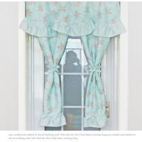 gorden gordyn gordin curtain biru blue bunga shabby chic 90*120 cm
