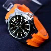 JAM TANGAN PRIA TOMMY HILFIGER RUBBER ORANGE SILVER COVER BLACK